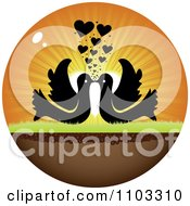 Clipart Circle Of Silhouetted Kissing Birds With A Heart Sunset Royalty Free Vector Illustration