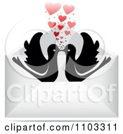 Clipart Silhouetted Kissing Birds With Hearts In An Envelope Royalty Free Vector Illustration