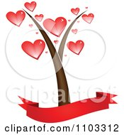 Clipart Heart Treea Nd Blank Banner Royalty Free Vector Illustration