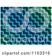 Clipart Gradient Blue And Green Zig Zag Background Royalty Free Vector Illustration