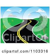 Clipart Curvy Hillside Road Royalty Free Vector Illustration
