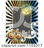 Clipart Music Speaker Disco Ball Sparkle And Equalizer Frame Over Rays Royalty Free Vector Illustration by Andrei Marincas