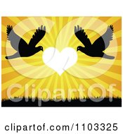 Clipart Silhouetted Doves Flying Against A Heart Sunset Royalty Free Vector Illustration by Andrei Marincas