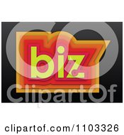 Clipart 3d Orange Red And Yellow Biz On Black Royalty Free Vector Illustration