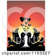 Clipart Silhouetted Kissing Birds With Hearts Against A Sunset Royalty Free Vector Illustration