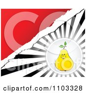 Clipart Pear Circle Over Rays With Torn Paper And Red Copyspace Royalty Free Vector Illustration by Andrei Marincas