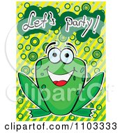 Clipart Happy Frog With Lets Party Text Over Circles And Stripes Royalty Free Vector Illustration