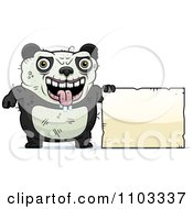 Clipart Ugly Panda With A Sign Royalty Free Vector Illustration by Cory Thoman