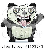 Clipart Waving Ugly Panda Royalty Free Vector Illustration by Cory Thoman