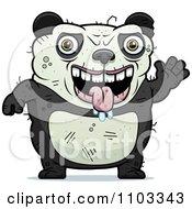 Clipart Waving Ugly Panda Royalty Free Vector Illustration