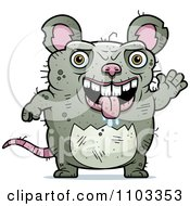 Clipart Waving Ugly Rat Royalty Free Vector Illustration