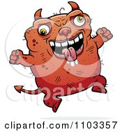 Clipart Jumping Ugly Devil Royalty Free Vector Illustration
