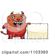 Clipart Ugly Devil With A Sign Royalty Free Vector Illustration