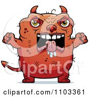 Clipart Angry Ugly Devil Royalty Free Vector Illustration