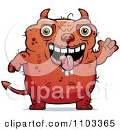 Clipart Waving Ugly Devil Royalty Free Vector Illustration
