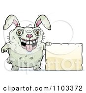 Clipart Ugly Rabbit Holding A Sign Royalty Free Vector Illustration by Cory Thoman