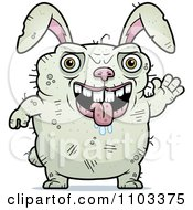 Clipart Waving Ugly Rabbit Royalty Free Vector Illustration by Cory Thoman