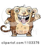 Clipart Waving Ugly Monkey Royalty Free Vector Illustration