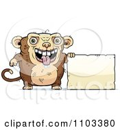 Clipart Ugly Monkey With A Sign Royalty Free Vector Illustration by Cory Thoman