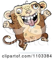 Clipart Jumping Ugly Monkey Royalty Free Vector Illustration by Cory Thoman