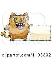 Clipart Ugly Cat With A Sign Royalty Free Vector Illustration by Cory Thoman