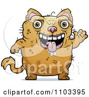 Clipart Waving Ugly Cat Royalty Free Vector Illustration by Cory Thoman