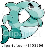 Clipart Angry Dolphin Gritting His Teeth Royalty Free Vector Illustration by Cory Thoman