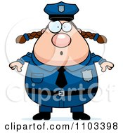 Clipart Surprised Chubby Caucasian Police Woman Royalty Free Vector Illustration