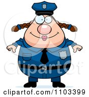 Clipart Happy Chubby Caucasian Police Woman Royalty Free Vector Illustration