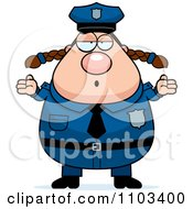 Clipart Shrugging Careless Chubby Caucasian Police Woman Royalty Free Vector Illustration