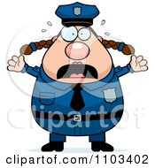 Clipart Panicing Chubby Caucasian Police Woman Royalty Free Vector Illustration