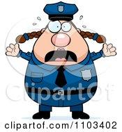 Panicing Chubby Caucasian Police Woman