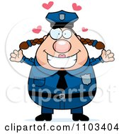 Clipart Loving Chubby Caucasian Police Woman Royalty Free Vector Illustration