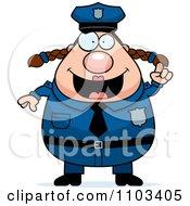 Chubby Caucasian Police Woman With An Idea