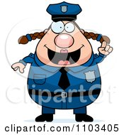 Clipart Chubby Caucasian Police Woman With An Idea Royalty Free Vector Illustration