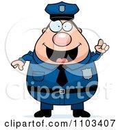 Clipart Chubby Caucasian Police Man With An Idea Royalty Free Vector Illustration