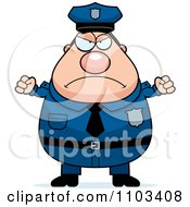 Clipart Angry Chubby Caucasian Police Man Royalty Free Vector Illustration