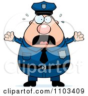 Clipart Frightened Chubby Caucasian Police Man Royalty Free Vector Illustration