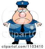 Clipart Depressed Chubby Caucasian Police Man Royalty Free Vector Illustration