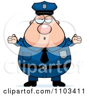 Clipart Careless Shrugging Chubby Caucasian Police Man Royalty Free Vector Illustration