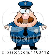 Clipart Chubby Caucasian Police Man With A Mustache Royalty Free Vector Illustration