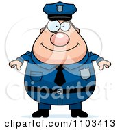 Happy Chubby Caucasian Police Man