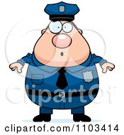 Clipart Surprised Chubby Caucasian Police Man Royalty Free Vector Illustration