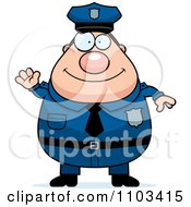 Clipart Friendly Waving Chubby Caucasian Police Man Royalty Free Vector Illustration