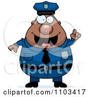 Clipart Chubby Black Police Man With An Idea Royalty Free Vector Illustration