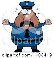 Clipart Chubby Black Police Man Royalty Free Vector Illustration