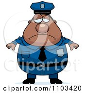 Clipart Depressed Chubby Black Police Man Royalty Free Vector Illustration
