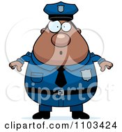 Clipart Surprised Chubby Black Police Man Royalty Free Vector Illustration