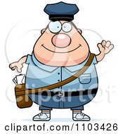 Clipart Friendly Waving Chubby Caucasian Mail Man Postal Worker Royalty Free Vector Illustration