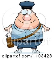 Clipart Happy Chubby Caucasian Mail Man Postal Worker Royalty Free Vector Illustration
